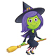 Girl Witch Riding Her Broom - GraphicRiver Item for Sale