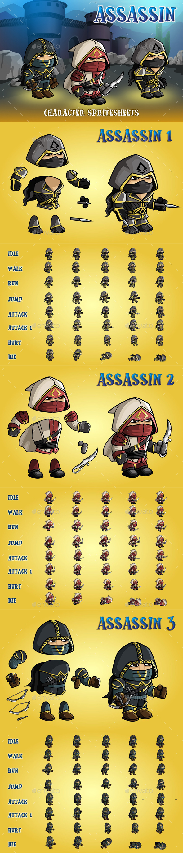 GraphicRiver Asassin 2D Game Character Sprite Sheet 20844388