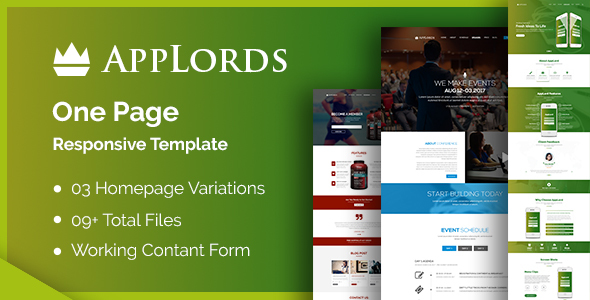 AppLords: One Page Multipurpose Responsive HTML Template - Events Entertainment