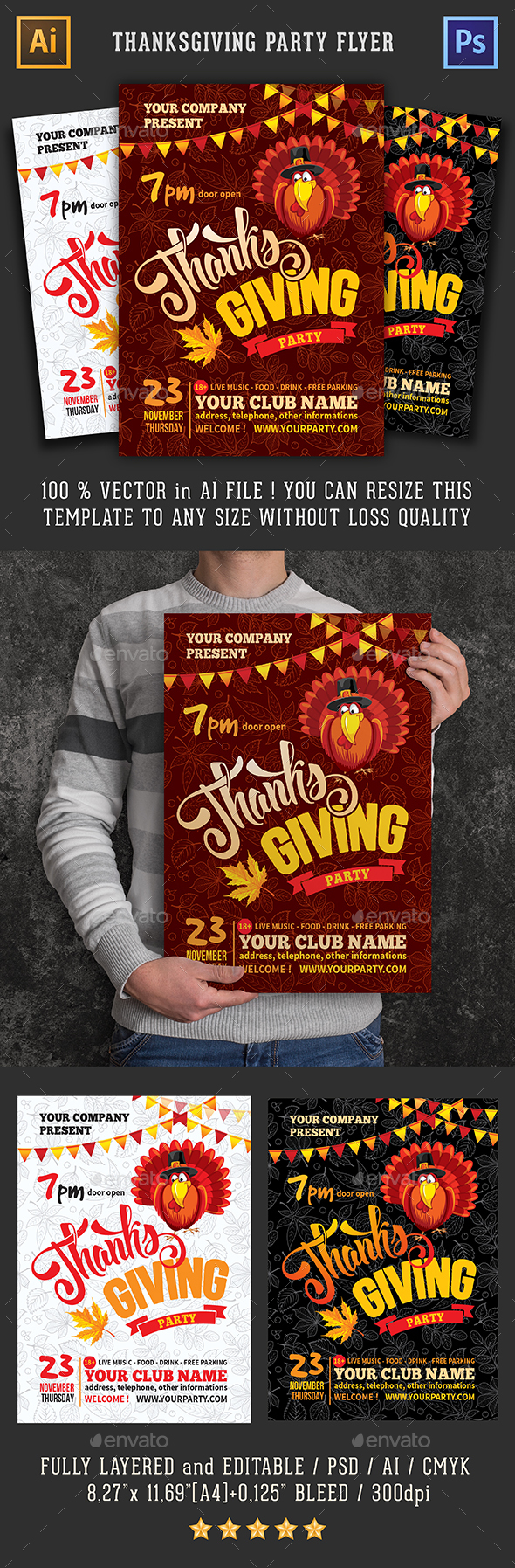 Template For Thanksgiving Party Flyer