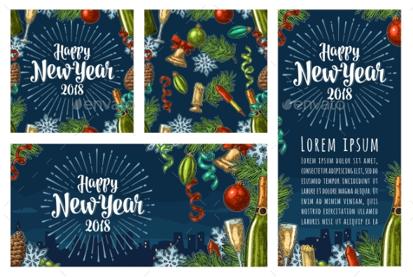 Seamless Pattern and Posters with Happy New Year - New Year Seasons/Holidays