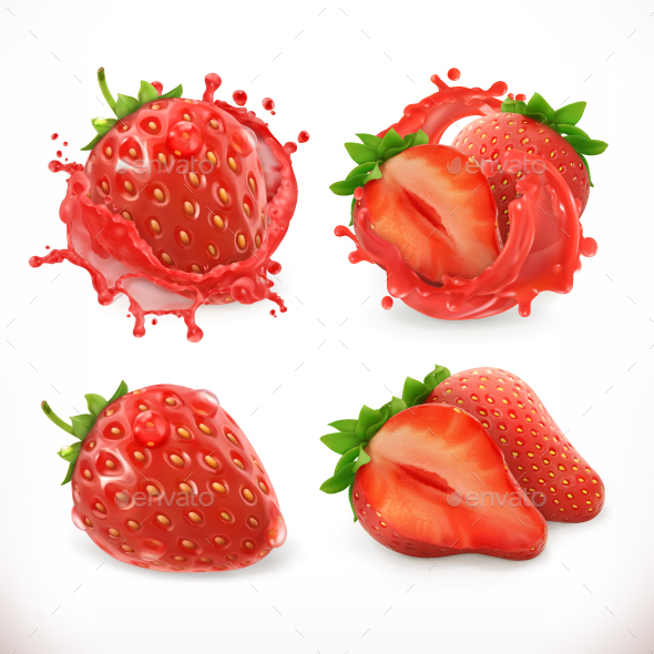 Strawberry Juice - Food Objects