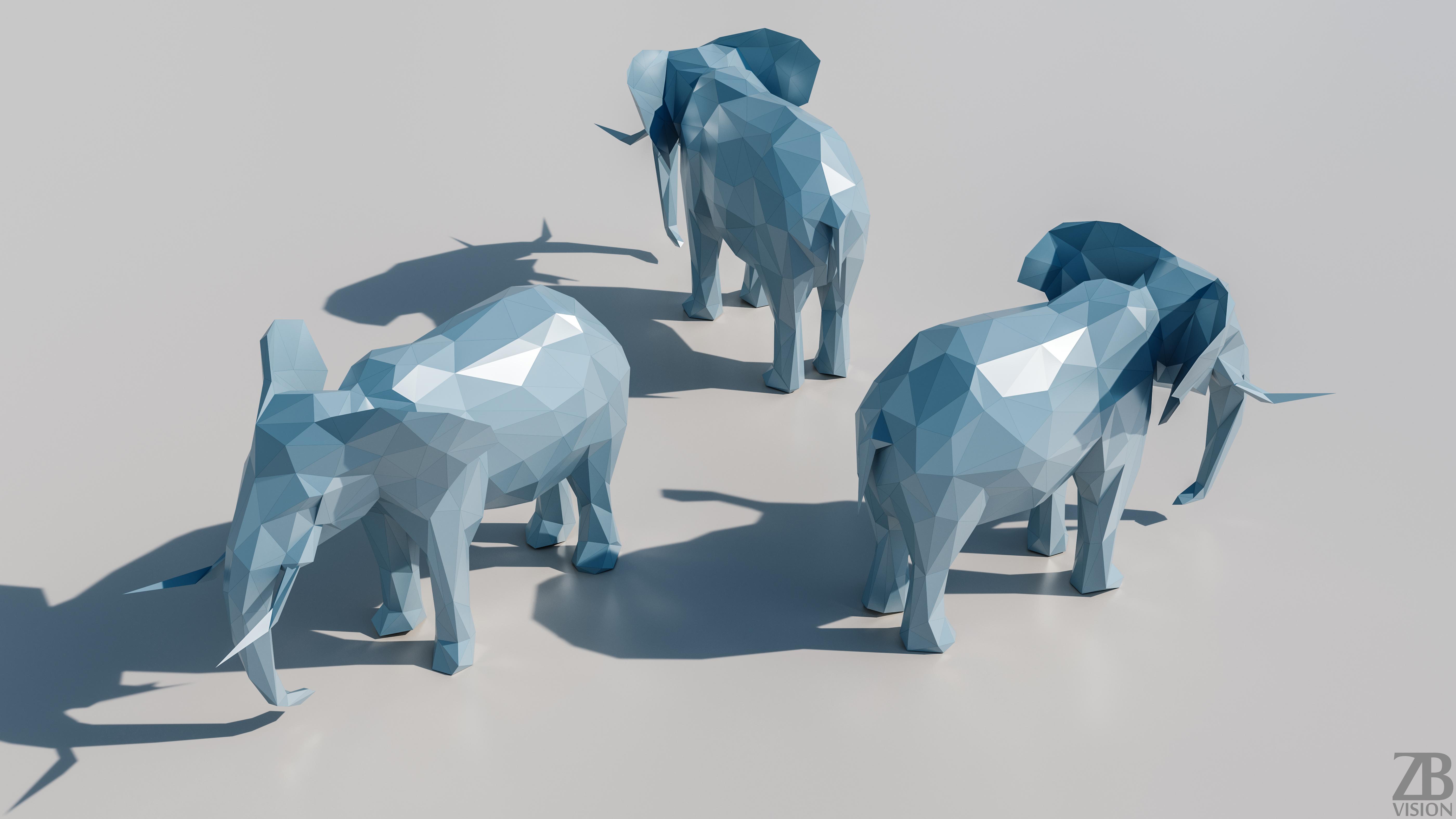 Lowpoly Elephant 001 By Luckyfox 3docean