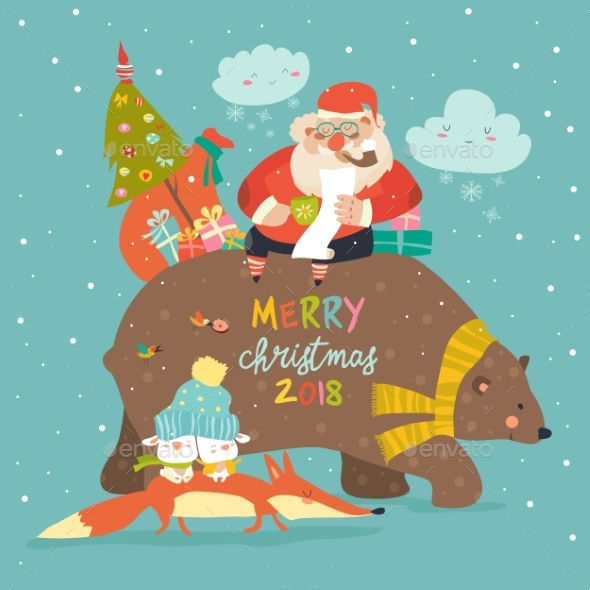 Santa Claus Riding on the Back of Friendly Bear - Christmas Seasons/Holidays