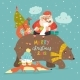 Santa Claus Riding on the Back of Friendly Bear - GraphicRiver Item for Sale
