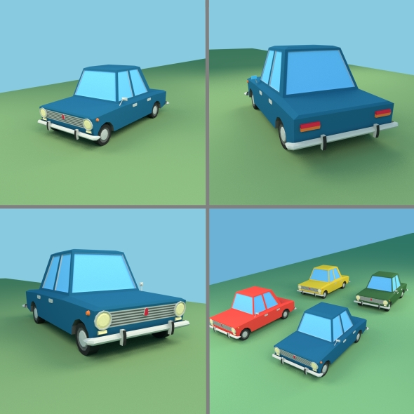 Low Poly Cartoon VAZ 2101 - 3DOcean Item for Sale