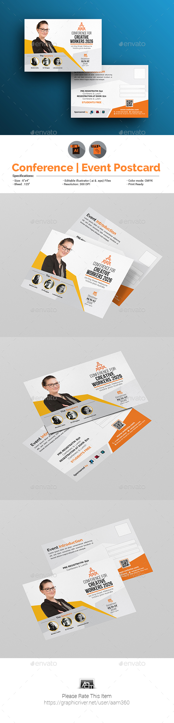 Event / Conference Postcard Template - Cards & Invites Print Templates