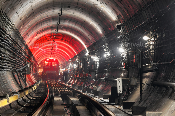Train in underground tunnel - Stock Photo - Images