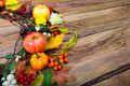Thanksgiving wreath with pumpkin, apples, barberry, rowan, copy
