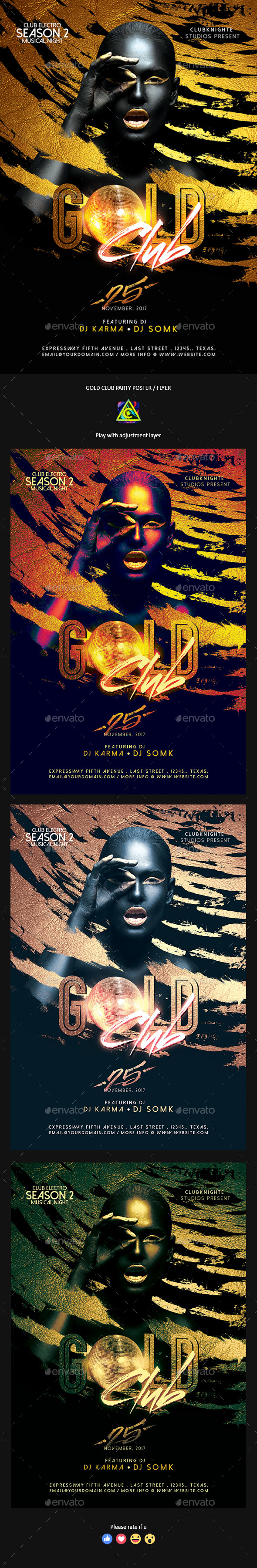 Gold Club Party Poster / Flyer - Clubs & Parties Events