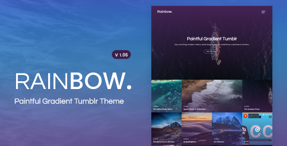 Rainbow | Gradient Grid Tumblr Theme - Blog Tumblr