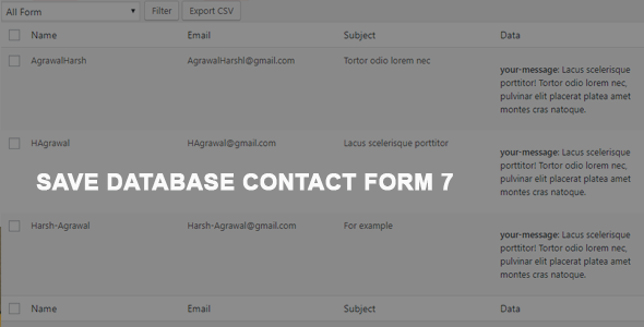 Contact Form 7 Save To Database / CSV / PDF - CodeCanyon Item for Sale
