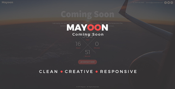 Mayoon - Clean & Responsive Coming Soon Template - Specialty Pages Site Templates