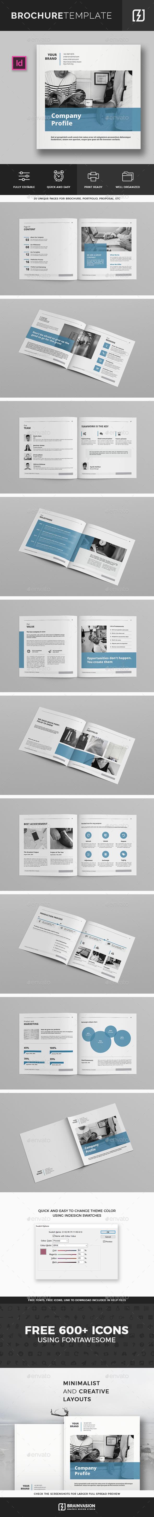 Square Company Profile Brochure Template - Corporate Brochures