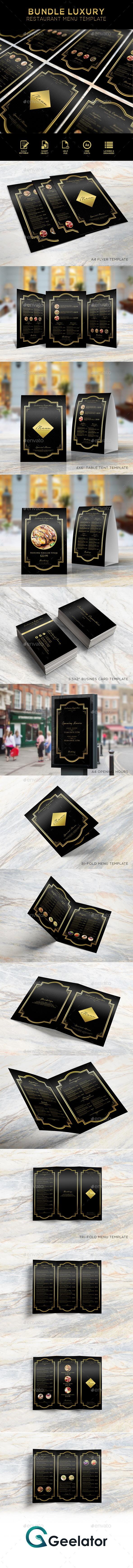 Bundle Luxury Restaurant Menu Template - Food Menus Print Templates