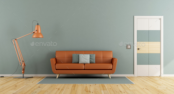 Blue living room with orange sofa - Stock Photo - Images