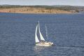 Sailing in Finland coastline. Aland archipelago. Finnish summer sport. Outdoor