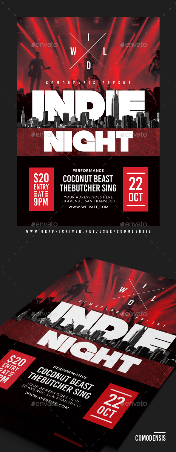 Indie Night Sound Flyer - Clubs & Parties Events