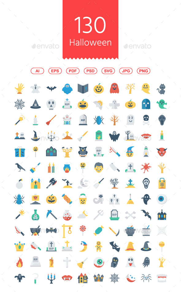 GraphicRiver 130 Halloween Flat icons 20846397