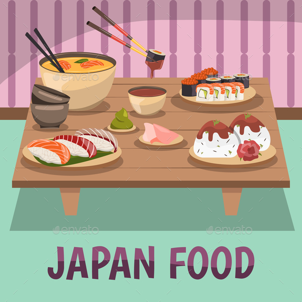 Japan Food Composition Bckground Poster - Buildings Objects