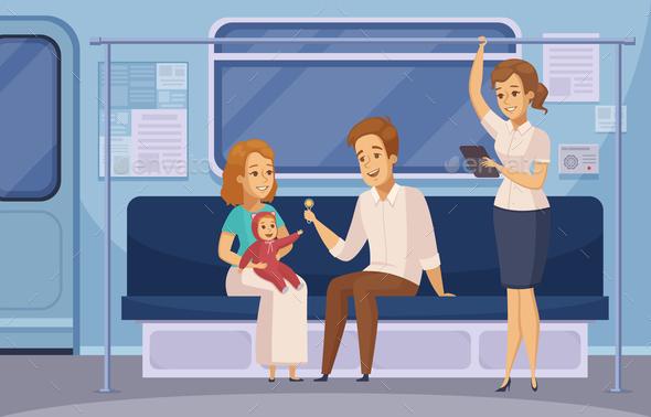 Subway Underground Metro Passengers Cartoon - People Characters