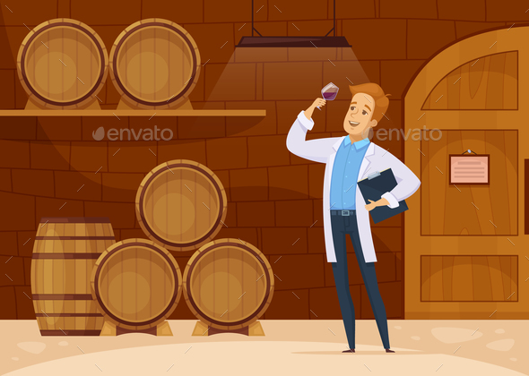 GraphicRiver Winery Storage Cellar Cartoon Poster 20846431