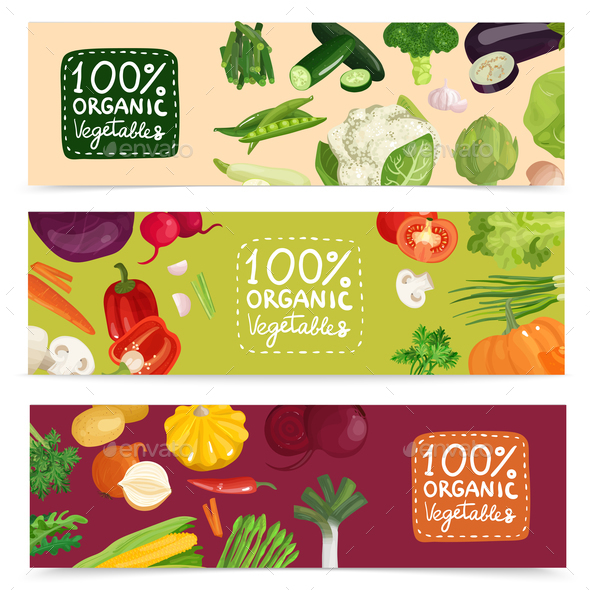 Organic Vegetables Horizontal Banners - Food Objects