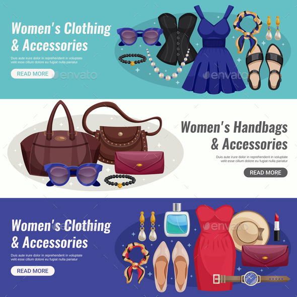 Women Accessories Horizontal Banner Set - Business Conceptual