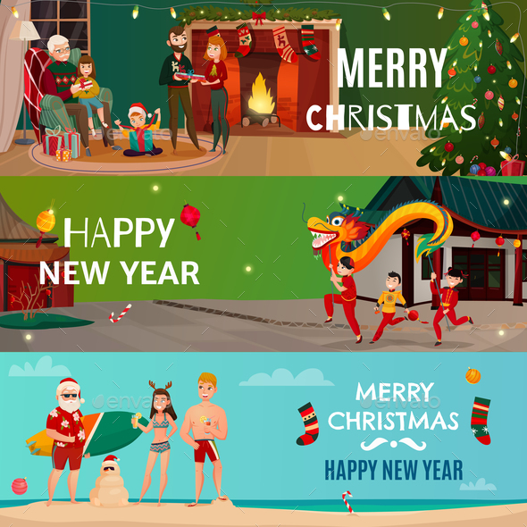 New Year And Christmas Banners - People Characters