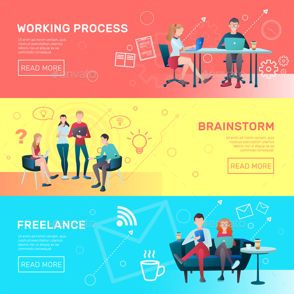 Freelance Horizontal Banners Set - Business Conceptual