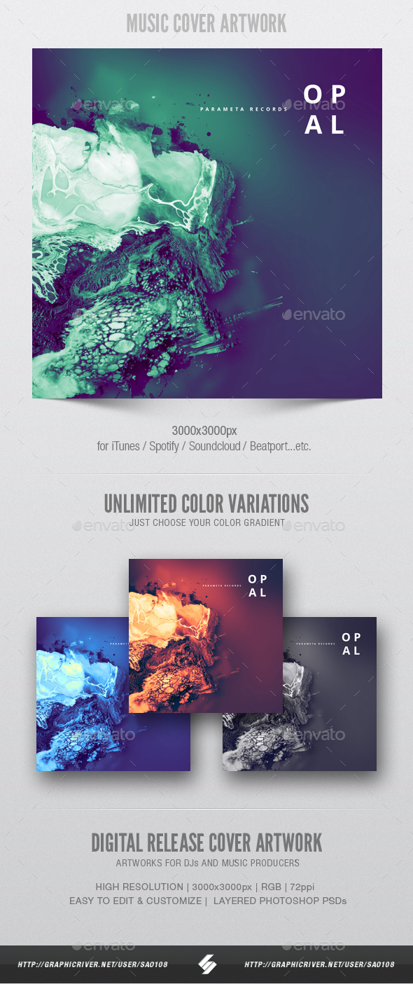 Opal - Music Album Cover Artwork Template - Miscellaneous Social Media