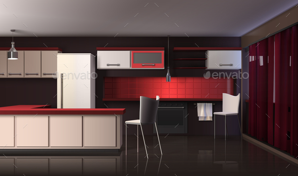Luxury Modern Kitchen Interior - Miscellaneous Vectors