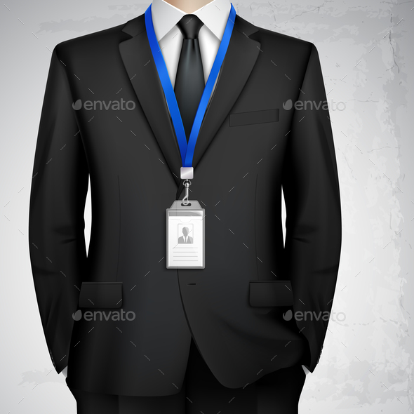 Businessman ID Card Badge Realistic - Backgrounds Decorative