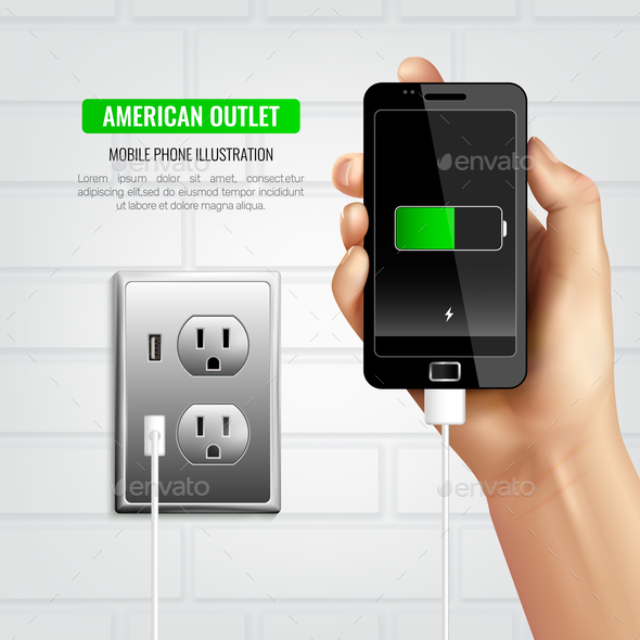 American outlet mobile phone composition by macrovector for Outlet mobile