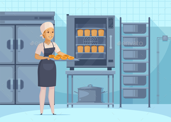 Bakery Production Cartoon Composition - Food Objects