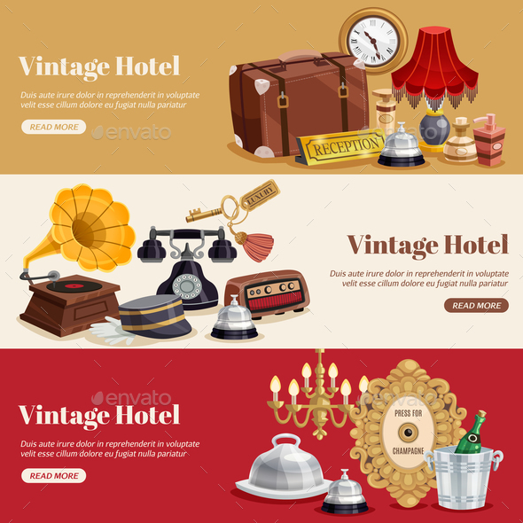GraphicRiver Vintage Hotel Horizontal Banner Set 20846493