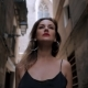 Front View of Sexy Elegant Woman Walking in the Old European City. Attractive Lady in Long Black - VideoHive Item for Sale