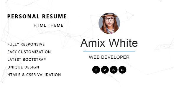 Resume/ CV/ vCard & Portfolio by Themelab15