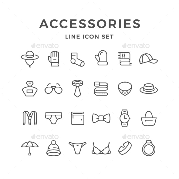 Set Line Icons of Accessories - Man-made objects Objects
