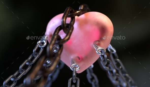 GraphicRiver Red Heart Locked with Chain 3D Illustration 20846946