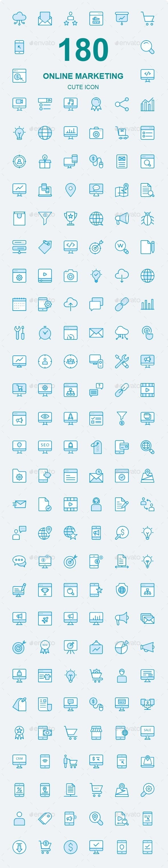 150+ Online Marketing Cute Style icons - Business Icons