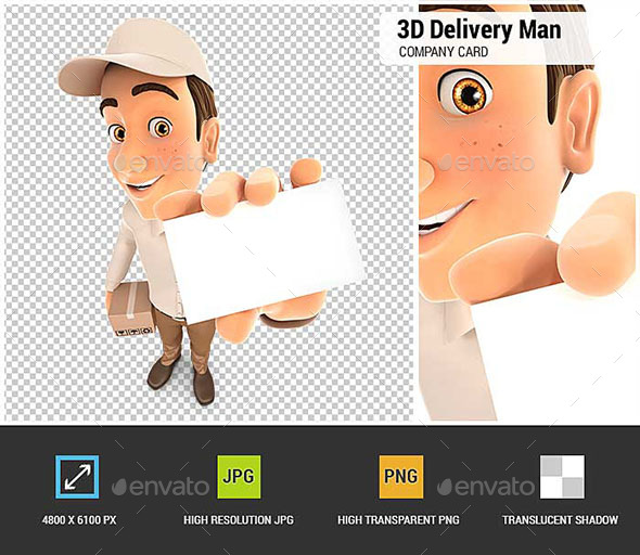 GraphicRiver 3D Delivery Man Holding Company Card 20847138