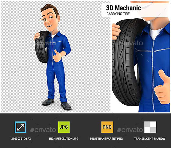 3D Mechanic Carrying Tire on Shoulder - Characters 3D Renders