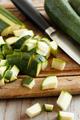 Fresh zucchini on wooden board