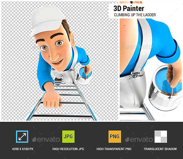 GraphicRiver 3D Painter Climbing Up the Ladder 20847160