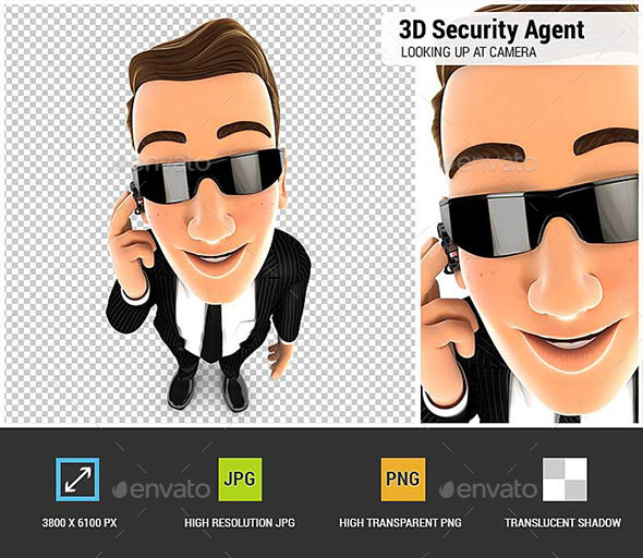 GraphicRiver 3D Security Agent Standing and Looking Up at Camera 20847168