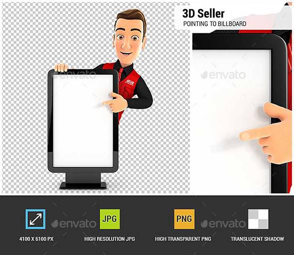 GraphicRiver 3D Seller Pointing to Blank Billboard 20847171