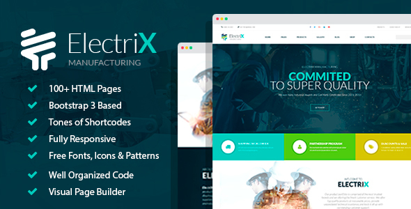 ElectriX+ - Industrial and Electronic Equipment Manufacturing HTML Template with Builder