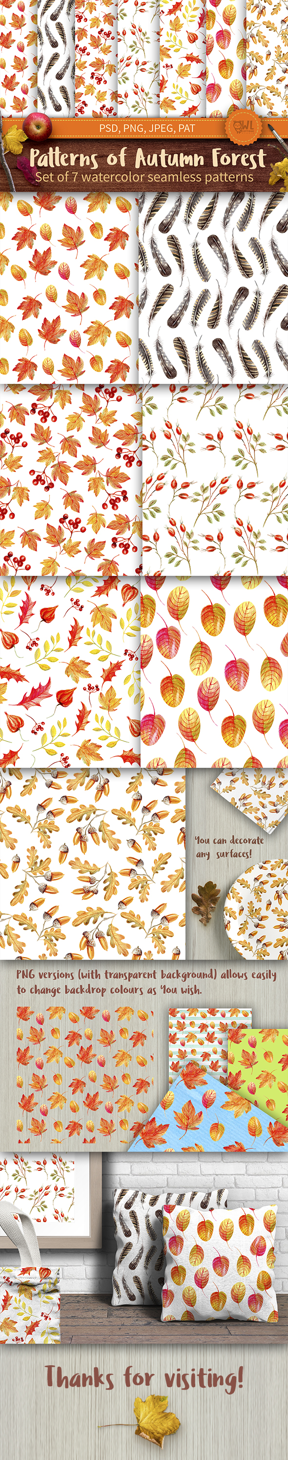 GraphicRiver Autumn Watercolor Seamless Patterns Set 20847361