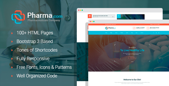 Pharma+ - Pharmaceuticals Company and Shop HTML Template with Builder